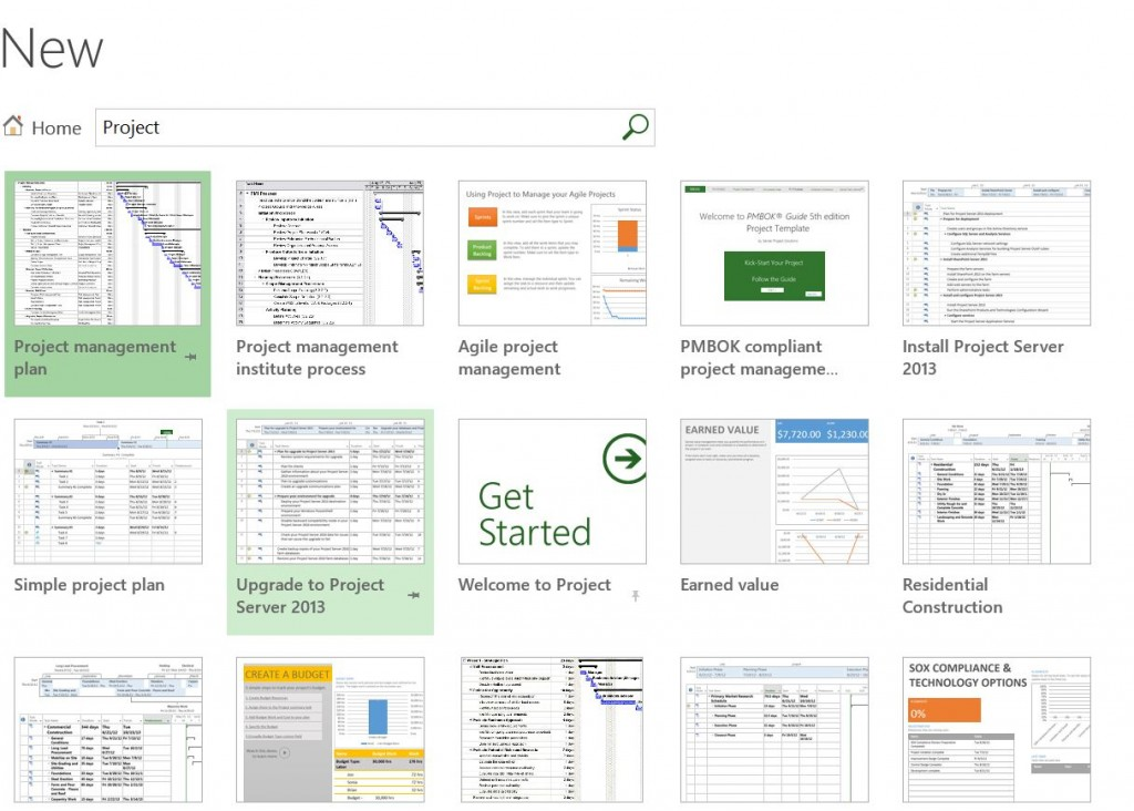 Templates Search page in MS Project