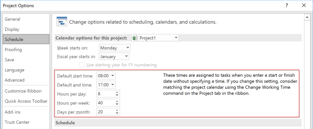 Schedule in Project Options