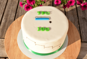 The cake my wife made for the 100th article on TPC