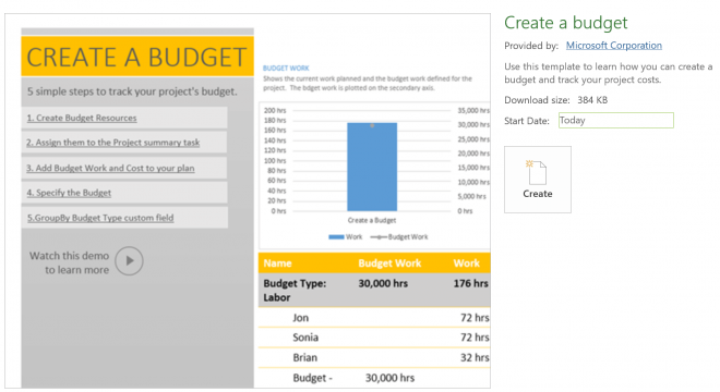 Create a budget template - TPC Project Budget