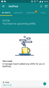 My shifts page no shifts