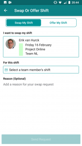 switching a shift in StaffHub mobile app