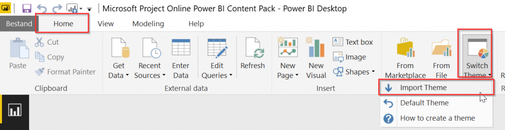 Import Power BI Theme
