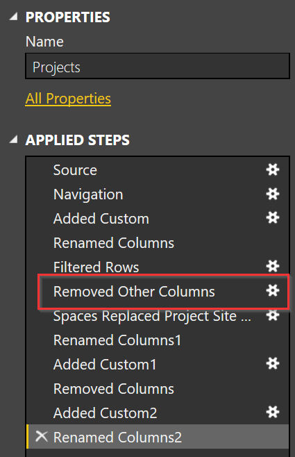 Edit queries removed other columns