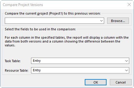 The window showing the compare options in MS Project