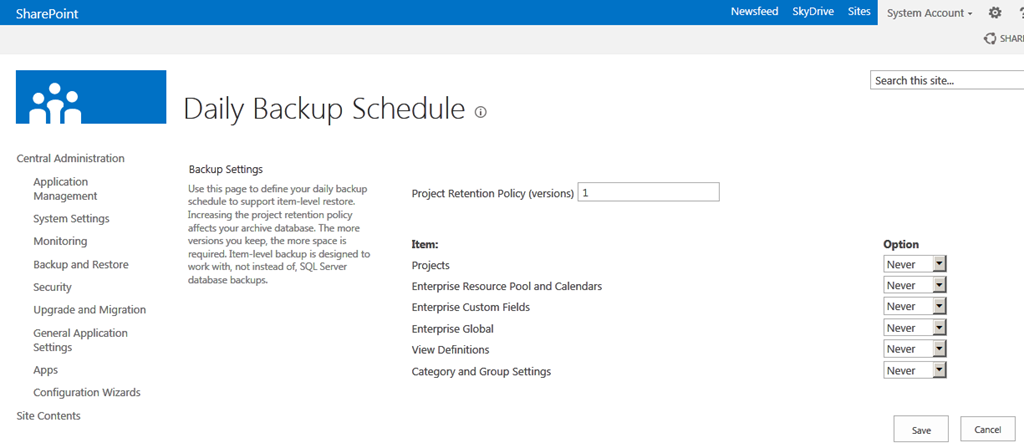 Backup and restore functionality in Project Server 2013