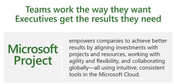 Microsoft mission for Project. Teams work the way they want, Executives get the results they need. Ignite 2018