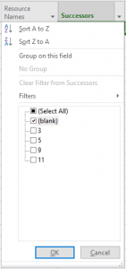 Using a filter on the column Successors in MS Project