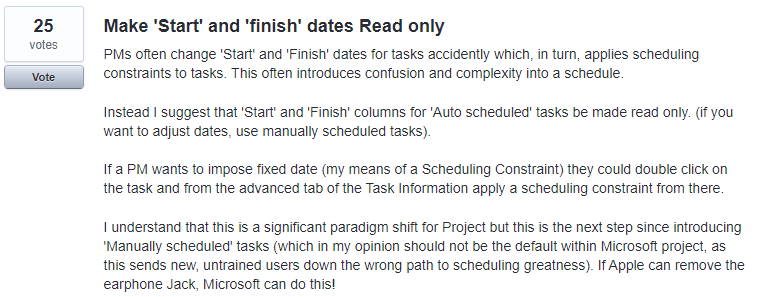 The UserVoice item in regards to start and finish date read only