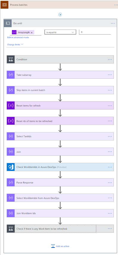 Detail of batch process Azure DevOps board with Flow and Roadmap.