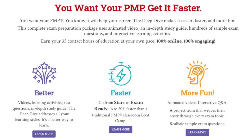 Better, Faster More Fun, the PMP Deep Dive by Eric Verzuh and company