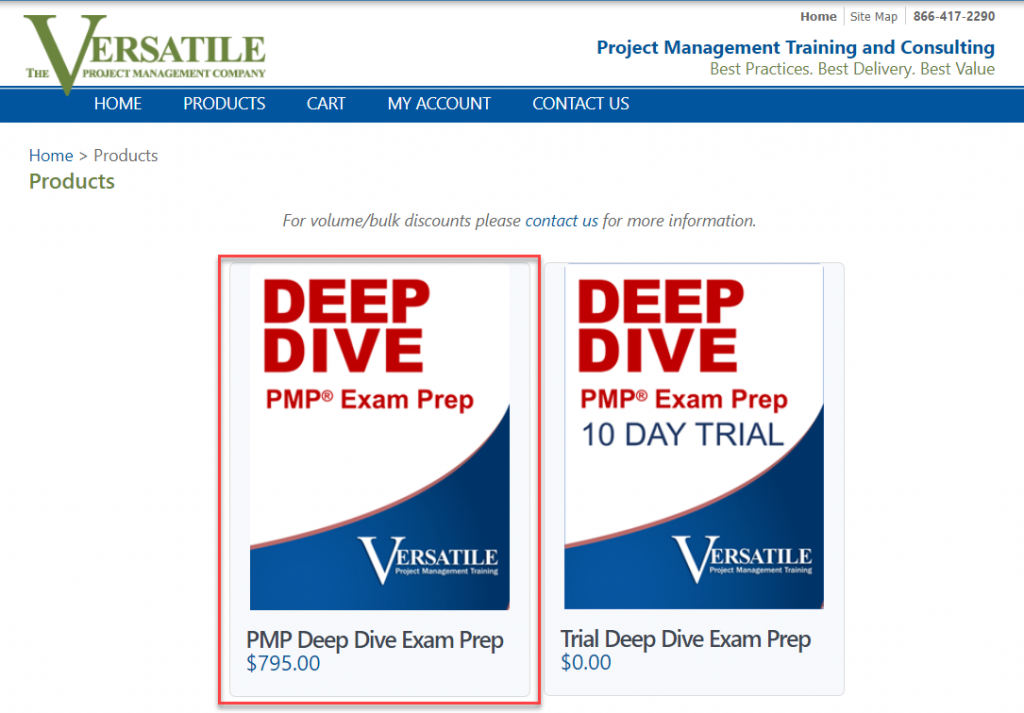 Step one on purchasing the PMP Deep Dive eLearning.
